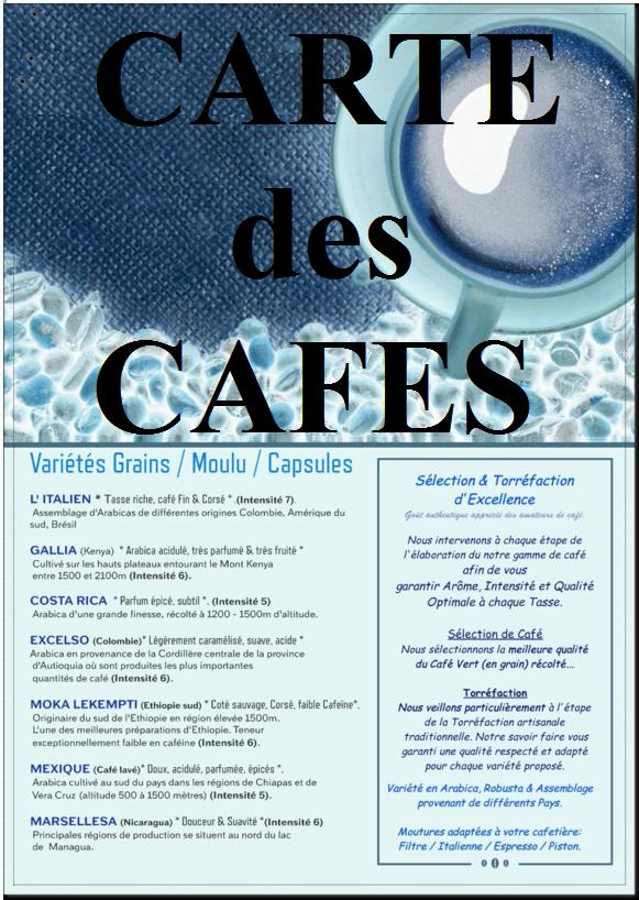 Carte menu cafe